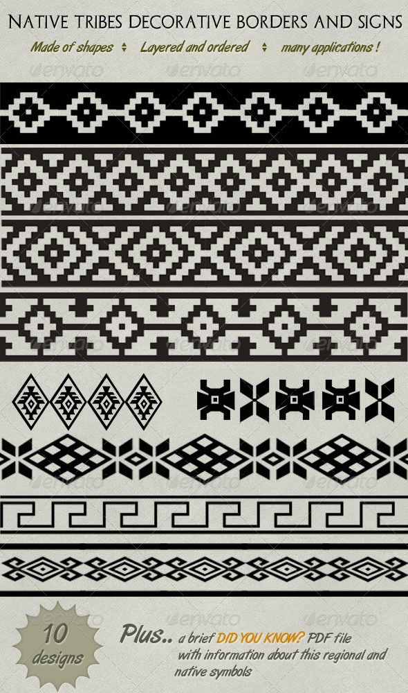 Decorative Native Tribe Borders, Lines & Symbols  - Decorative Symbols Decorative
