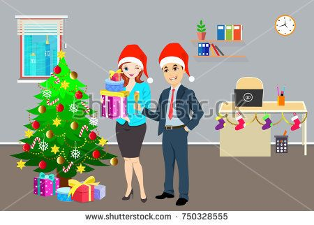 business people celebrating christmas party