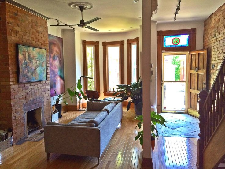 Exposed brick throughout, Exposed ceiling beams, Open concept layout