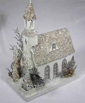 KD VINTAGE Vintage Putz Style Holiday Christmas Cardboard Church - Lights Up
