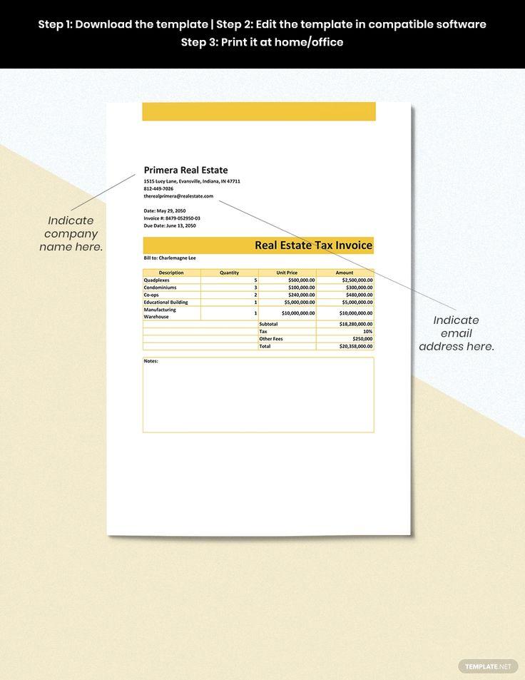 Real Estate Tax Invoice Template in 2020 Invoice