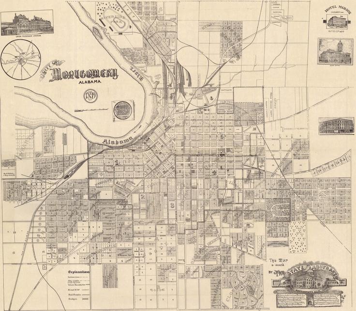 Best Antebellum Montgomery AL Images On Pinterest Montgomery - Montgomery al map