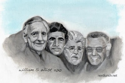Mount Rushmore of Nerdom which includes Tolkien, Serling, Lucas, and Lee