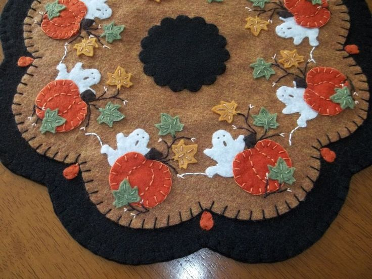 Ghosts and Pumpkins Penny Rug Candle Mat  w/FS