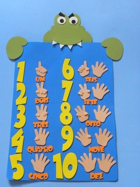 painel de números para educação infantil - Número-escrita-quantidade www.petilola.com.br