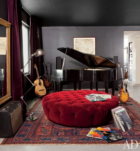 Music room- add shelving for personal library. There is something that is drawing me to this room. I'm not sure if it's the huge tufted ottoman or the baby grand and guitars....