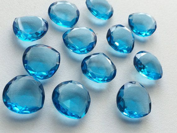 5 Pcs Blue Hydro Quartz Rose Cut Heart Shape by gemsforjewels