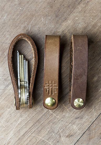 """""""The Foldover Fob is a simple way to ORGANIZE AND SILENCE keys, using hand-tooled leather, combining style with function."""":"""