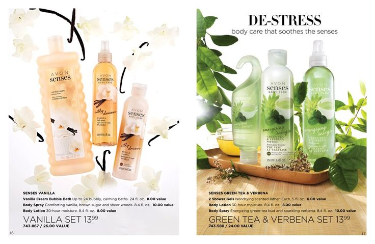 De-Stress body care that soothes the senses pick from Avon Senses Vanilla or Avon Senses Green Tea and Verbena bundle pack for only $13.99 go to www.youravon.com/my1724 or just click on the pin... #avon #avonsenses #weddinggifts