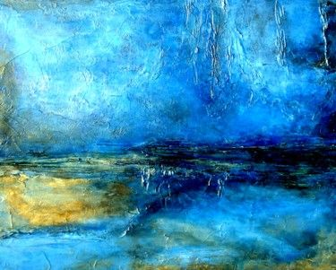 Abstract Landscape Painting, Earth Tones with Gold Accents DESERT LIGHTNING