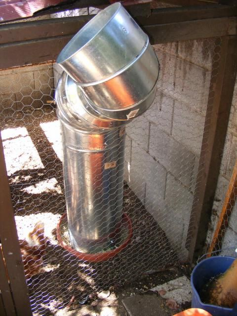 DIY for automatic feeder- made from Metal Air Duct and a Flower Pot. Will hold over 50 lb of feed