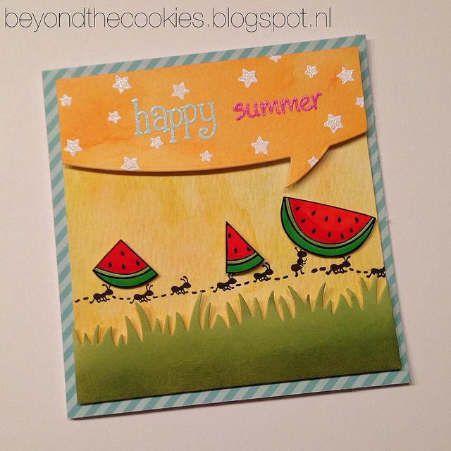 Lawn Fawn - Happy Summer, Happy Easter, Speech Bubble Border, Grassy Border, Let's Polka 6x6 paper _ totally awesome Happy Summer card by Louise via Flickr - Photo Sharing!