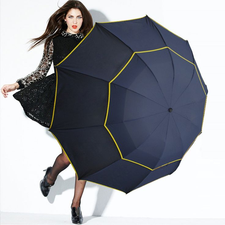 CHN-TOP Big 130cm Double Layer Umbrella 4 Folding Women Rain Windproof Paraguas Fashion Business Men Outdoor Strong Umbrella #Affiliate