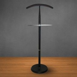 COAT HANGER.  This modern wooden clothing #valet stand is finished off nicely with a heavy wooden finish base and bent #metal tubes to stack your polished shoes neatly on them.  www.covetlo.com