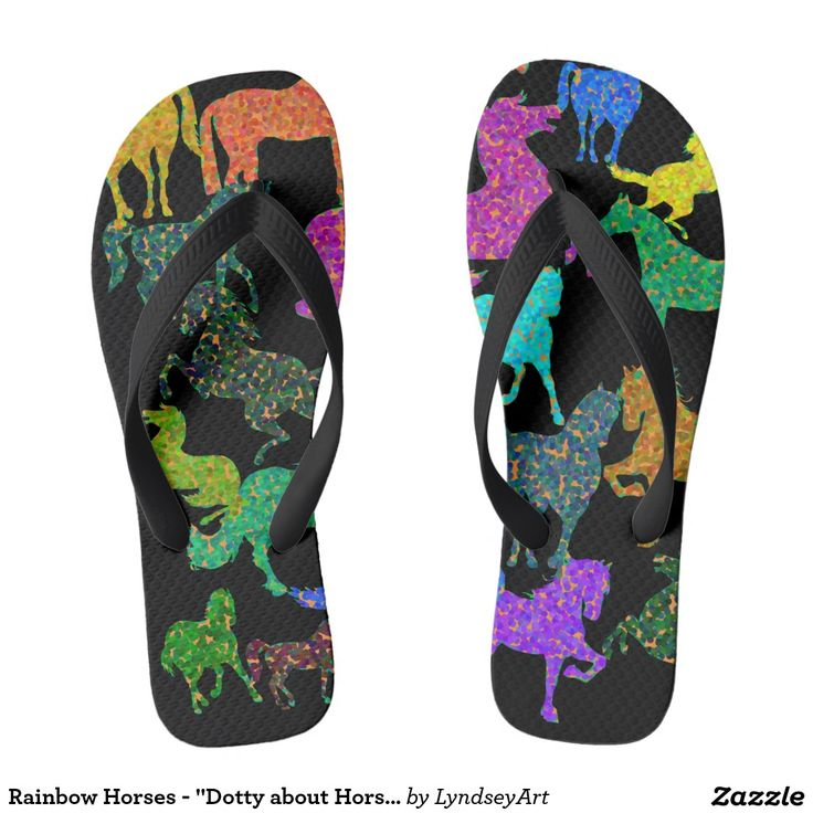 """Rainbow Horses - """"Dotty about Horses!""""  Gorgeous multicolored horses, in the wonderfully """"dotty"""" color bouncing pointallist style. For all of you out there that just adore these magnificent animals. Customisable too! LyndseyART   #horses #thongs #flipflops #jandals #shoes #custom #lyndseyART"""