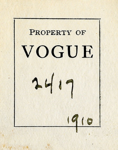 Bookplate of Vogue by Pratt Libraries