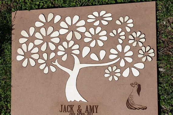Wedding Albums – 3D Wedding guest book alternative tree wood Rustic – a unique product by miracleHill on DaWanda