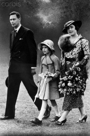 The futurer Queen Elizabeth II, with her father King George VI, and the Queen Mother.