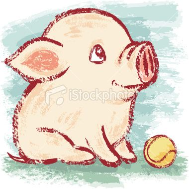 Pig and ball Royalty Free Stock Vector Art Illustration