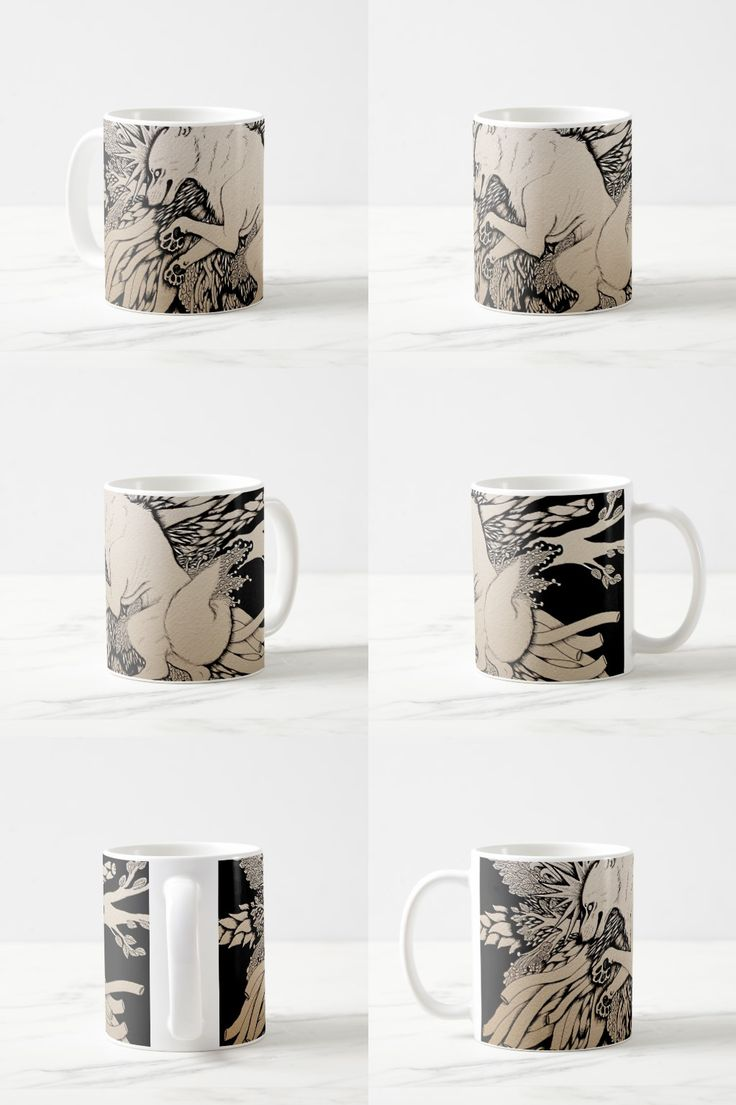 """""""Sore and Sick"""" Black And White Illustrated Wolf Coffee Mug  #wolf_products #wolf_illustration #wolf_art #wolf_gifts"""