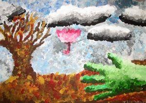 Herbstlandschaft - Impressionismus Die Schüler lernen impressionistische und pointillistische Bilder kennen. Sie üben den Farbauftrag mit Pinseln und Fingern und gestalten eine Herbstlandschaft, in der es stürmt und regnet. 2012/2013, 1. bzw. 6. Klasse