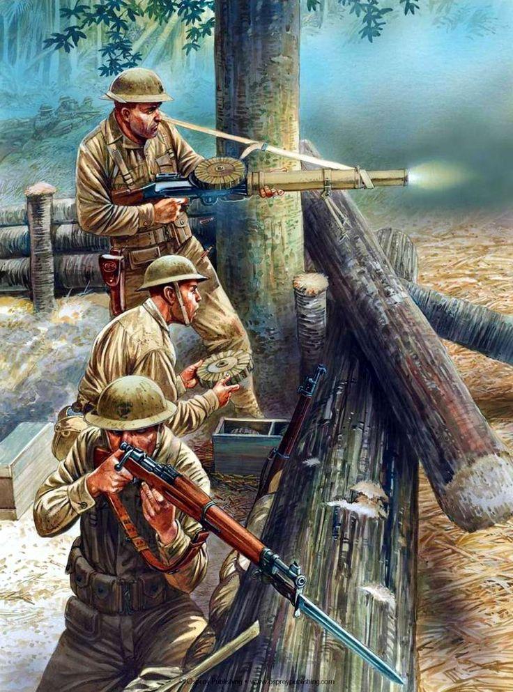 U.S.M.C. - Postazione di Fanteria si difende con una mitragliatrice Lewis dall'attacco giapponese nelle Filippine, 1942