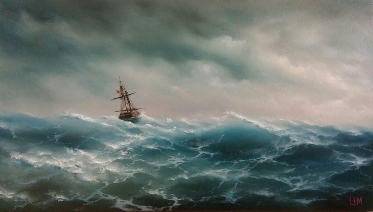 живопись - морской пейзаж, купить картину Волны и ветер