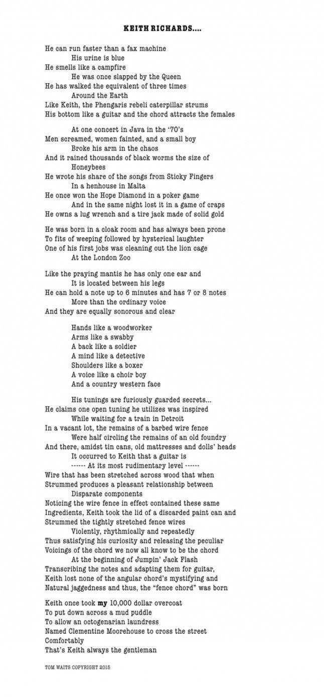 Il poema che Tom Waits ha scritto per Keith Richards