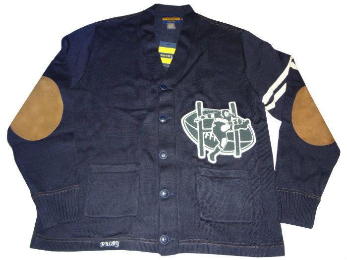 Ralph Lauren Rugby Shawl Collar Cardigan Size L (Large) Blue Kicker Patch #RalphLaurenRugby #Cardigan