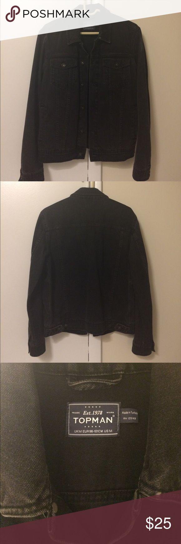 "TopMan black denim jacket (M) Men's black denim jacket from TopMan. Size medium, designed to fit chest size 38-40"". Rarely worn! 100% cotton. Topman Jackets & Coats Lightweight & Shirt Jackets"