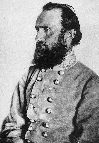 """Lt. Gen. Thomas J. """"Stonewall"""" Jackson is pictured here. Artillery professor at Virginia Military Institute. Considered """"Lee's Right Arm"""", Jackson helped to lead the Army of Northern Virginia to victory at the First and Second Manassas, the Valley Campaign of 1862, Seven Days Battles, Fredericksburg, and Chancellorsville. Jackson was a victim of friendly-fire at the Battle of Chancellorsville in 1863 and would soon die of pneumonia resulting from his wounds."""
