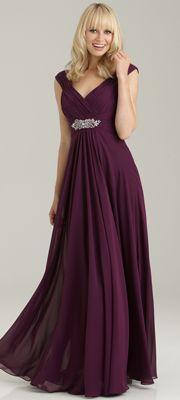 2013 Allure Bridesmaid - Burgundy Chiffon Off the Shoulder Long Bridesmaid Dress