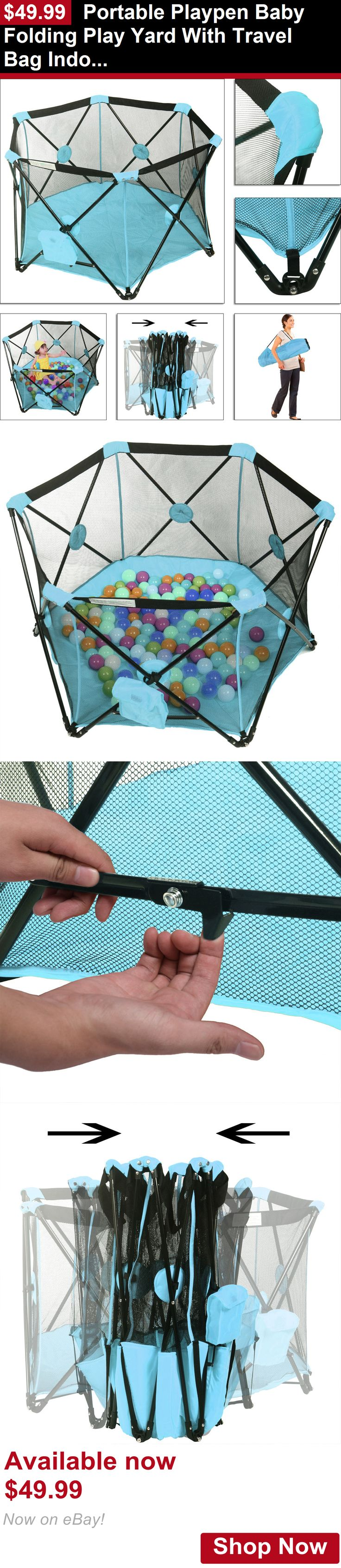 Baby Play pens and play yards: Portable Playpen Baby Folding Play Yard With Travel Bag Indoor Outdoor Blue BUY IT NOW ONLY: $49.99