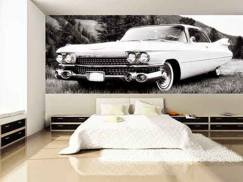 Modern Bedroom Design with Vintage Car Wall Mural