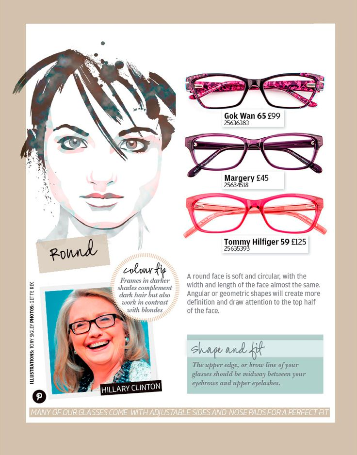 Glasses shapes that suit rounded faces.