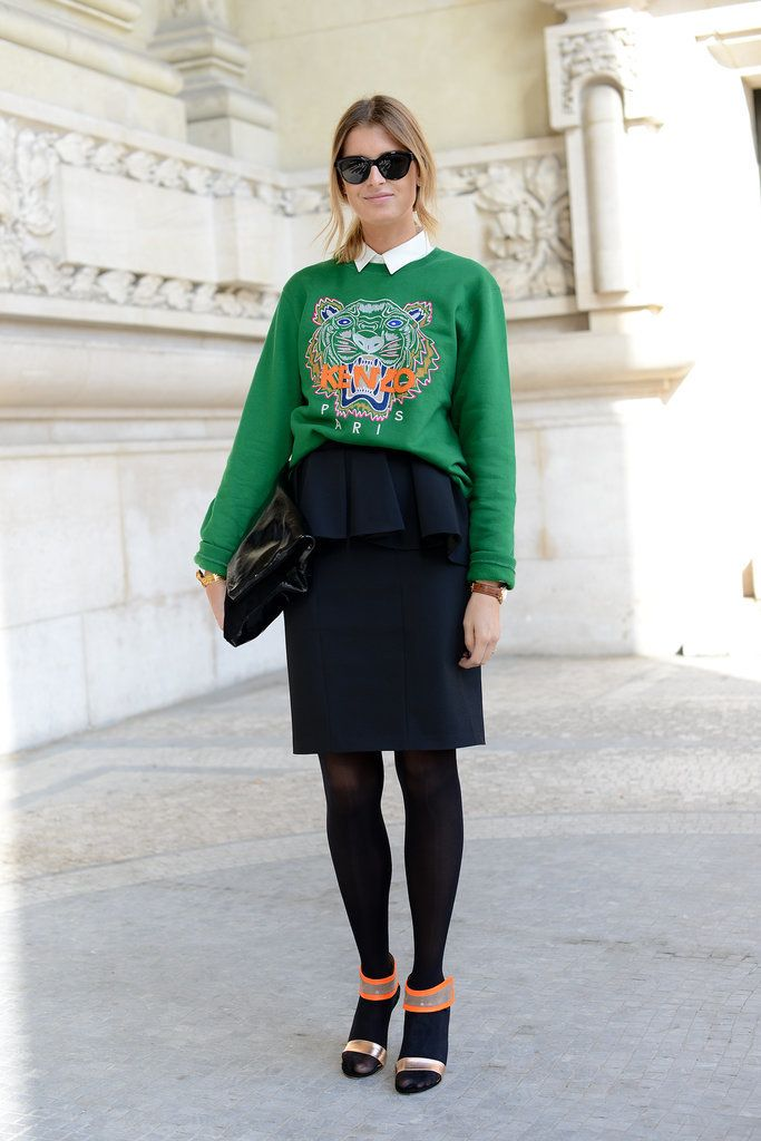 Wear your graphic sweatshirt to work by pairing with a classy skirt