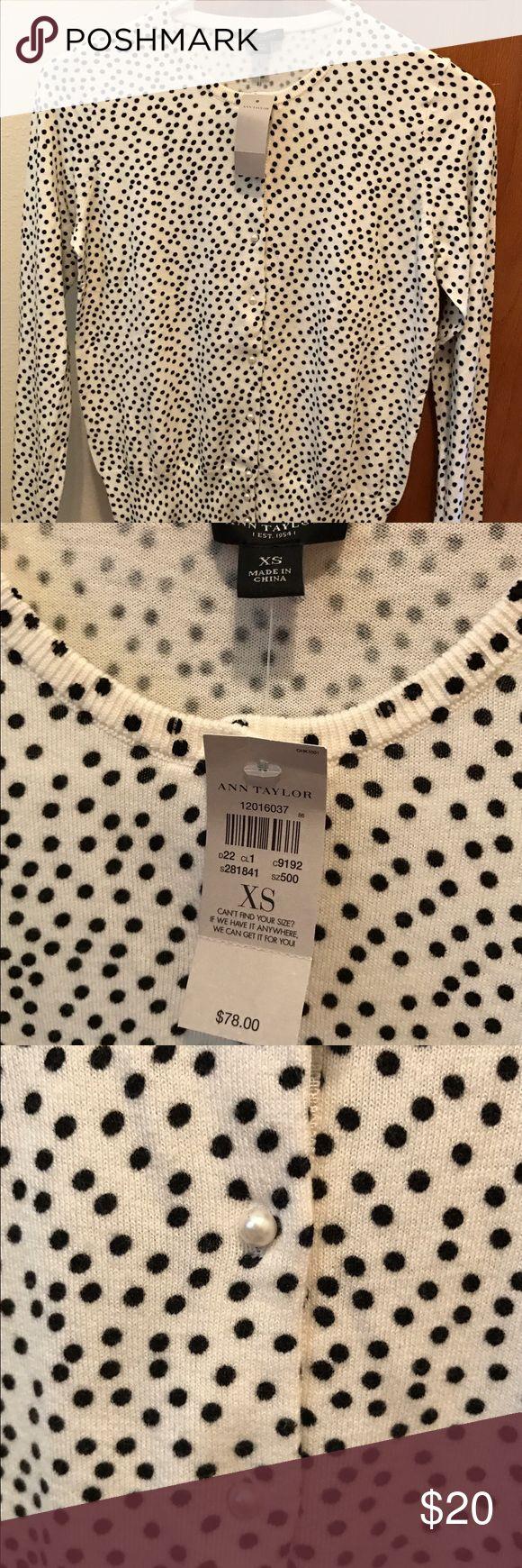 NWT Ann Taylor loft cardigan w/ polkadots n pearls Brand new with tags! Retail $78 never worn , gorgeous gorgeous cream cardigan with pearl buttons & black polka dots. SizeXS Ann Taylor Sweaters Cardigans