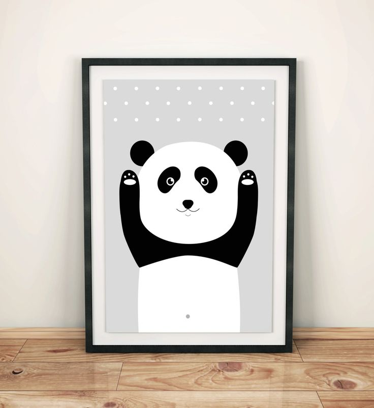 Happy panda print poster, nursery decor, children wall art, kids room, girl and boy, black and white, birthday, simple design, graf poster by GrafPoster on Etsy