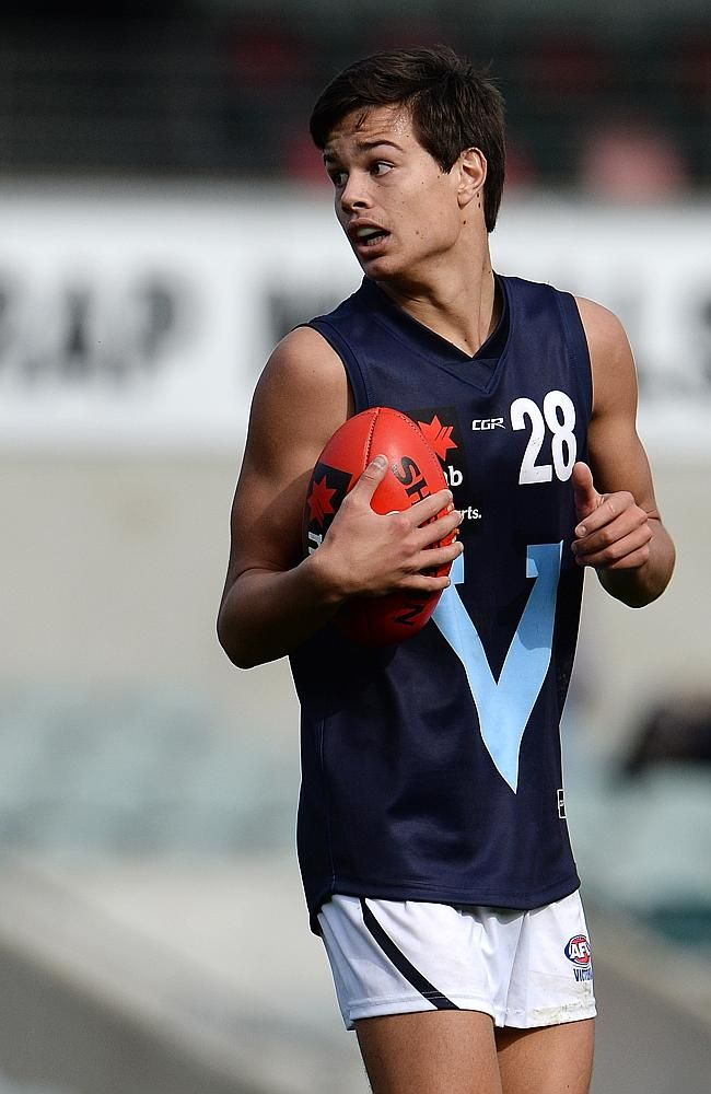 Jack Silvagni, 17, son of Stephen, hopes to get to Carlton via the Father - Son rule. Picture: Daniel Wilkins