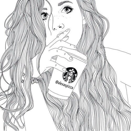 gambar starbucks, outline, and drawing