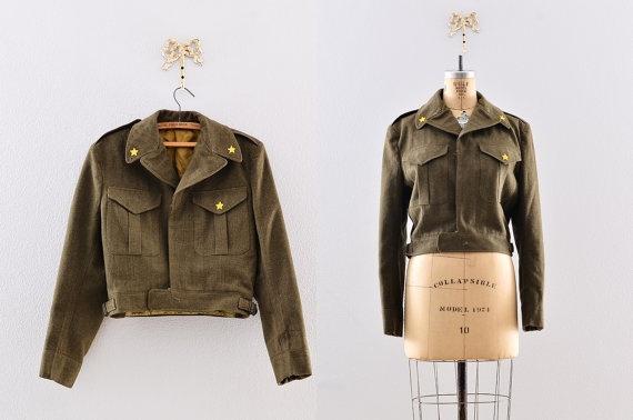 Vintage 1950s jacket - army cadet jacket / vintage 50s bomber ...