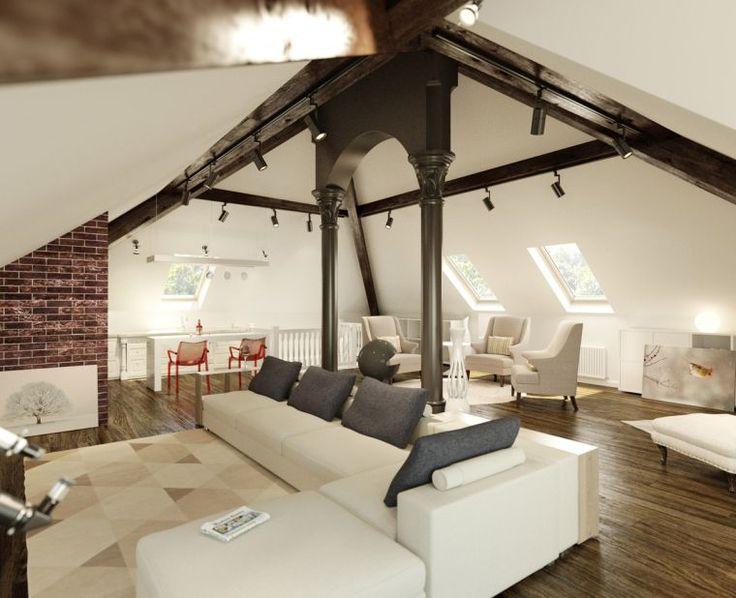 plafond rampant idee decoration salon sous combles poutres