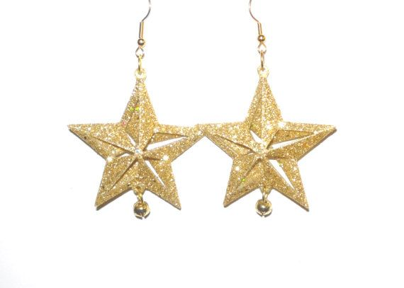 Gold Glitter Christmas Star Earrings with tiny bell by junquete, $8.99