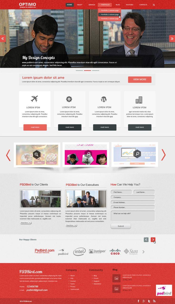 Optimo free responsive web template psd 1ch pinterest for Pinterest template psd