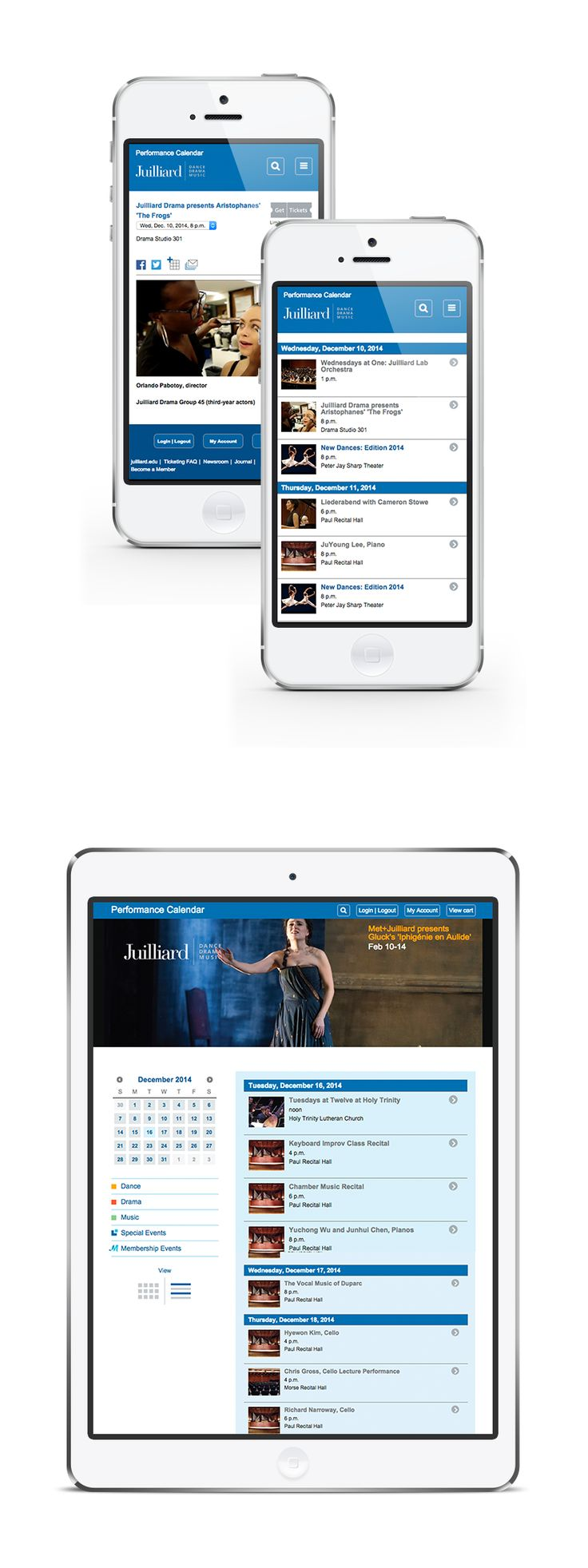 The Juilliard School is a New York based performing arts conservatory established in 1905.  Our role involved back-end (Django) implementation as well as front-end coding work based on provided design concept.  Visit site: www.events.juilliard.edu