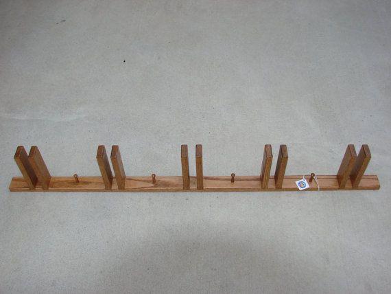 Oak ski rack made for wide skiis by 3mtwoodcarver on Etsy