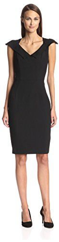 SOCIETY NEW YORK Women's Sheath with Collar, Black, 2 US Cap sleeve woven dress with V neckline pointed collar and hidden back zip closure2BlackDry clean62% Polyester 35% Rayon 3% Spandex