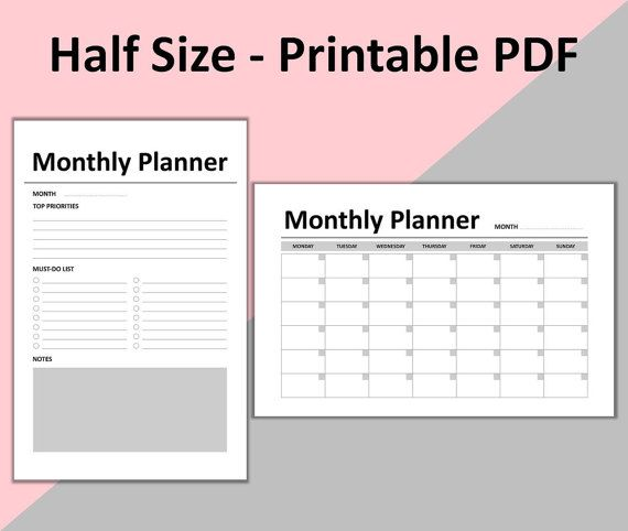 Best  Monthly Planner Printable Ideas On   Monthly