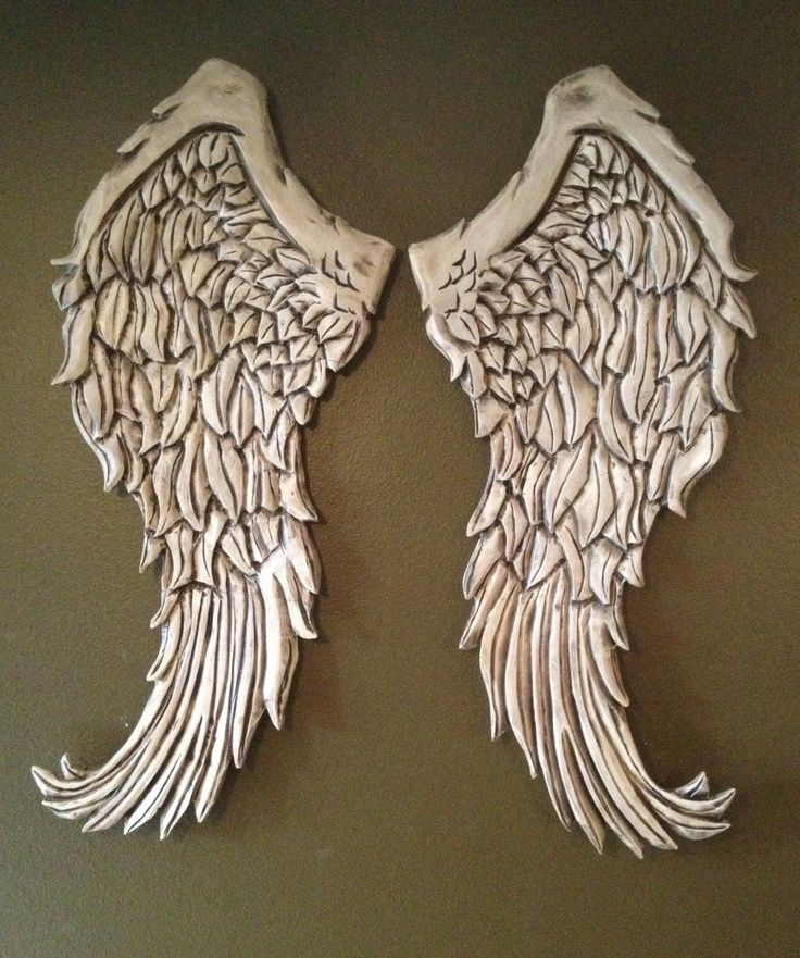 Large angel wings wood wall decor hand carved wooden for Angel wall decoration