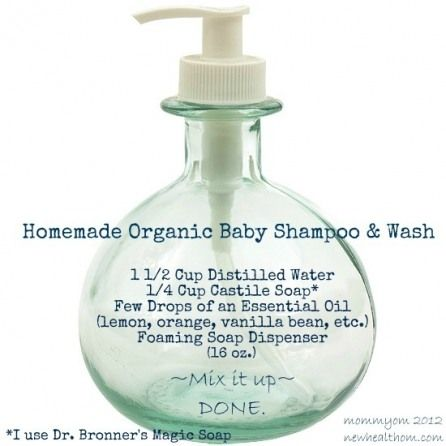 Homemade Organic Baby Wash    1 1/2C Distilled Water  1/4 C Castile Soap   A Few drops of essential oil   (lavender, lemon, orange, etc)  Foaming Soap Dispenser  (16oz)  Mix it up and done.    **Prefer Dr. Bronner's Magic Soap